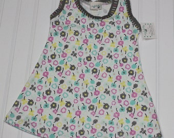 6-12m - Waving Buds Knit Tank Dress, Girls Floral Tank Top Dress, Spring Summer Dress