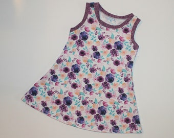 3T - Plum Watercolor Floral Knit Tank Dress, Girls Floral Tank Top Dress, Spring Summer Dress