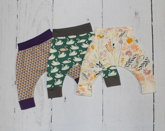 3-6 Month Harem Pants, Baby and Kids Harem Pant Leggings, Assortment of Fabrics see listing for choices