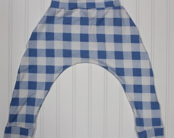 12-18M, 2T - Buffalo Plaid Blue and White Harem Pants, Gender Neutral Baby and Kids Harem Leggings, Plaid Baby Pants, Baby Buffalo Paid