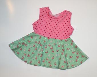Flamingo Peplum Top, Girls Sleeveless, Tank Top, Tunic, Circle Peplum, Girls Shirt, Ready to Ship