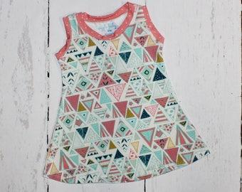 Fancy Pink Dot Triangle Tank Dress, Girls Knit Dress, Summer Dress, Play Dress