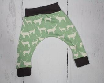 2T - ORGANIC Harem Pants, Elk on Algae with Grey Accents, Baby and Kids Harem Pant Leggings