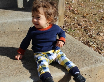 3-6month - Buffalo Plaid Homestead Life Harem Pants, Baby and Kids Harem Leggings, Navy, Yellow and White Buffalo Plaid