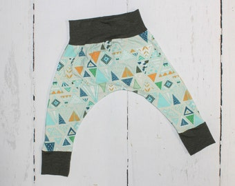 5T - Olive Triangle Baby and Kids Harem Pant Leggings, Knit Harems, Mustard, Blue, Aqua and Olive Triangle Print