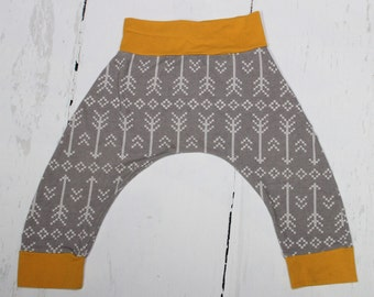 2T - Grey Stitched Arrows and Mustard Harem Pants, Baby and Kids Harem Pant Leggings, Geometric, Gender Neutral