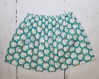 Mint Apple Valley Girls Cotton Skirt, Apples Print Girls Skirt, Knee Length Skirt, Toddler, Baby Skirt, Basics, Toddler Skirt