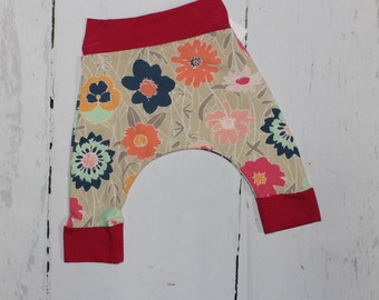 0-3m, Daisy, Pansy, Forget Me Not Wildflowers Harem Pants, Baby and Kids Harem Pant Leggings