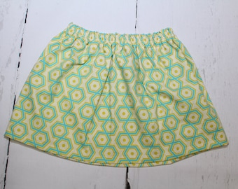 Aquamarine Hexagons Girls Cotton Skirt, Geometric Print Girls Skirt, Knee Length Skirt, Toddler, Baby Skirt, Basics, Toddler Skirt
