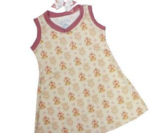 Rose Geo Tank Dress, Girls Knit Dress, Summer Dress, Play Dress