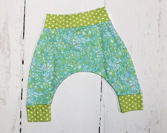 Aqua Swirl Baby Harem Pants, Baby and Kids Harem Pant Leggings, Aqua Blue Green Harems, Water Pool