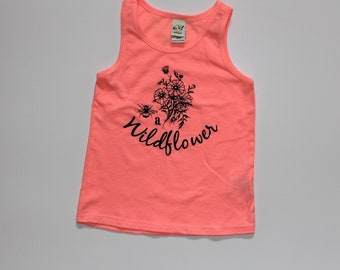 Be a Wildflower Kids Tank Top, Baby and Kids Tees, Wildflower Girls Top, Flamingo Pink