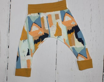 6-12 month - Brush Strokes Harem Pants, Baby and Kids Harem Pant Leggings, Gender Neutral, Mustard, Blue, Peachy Orange
