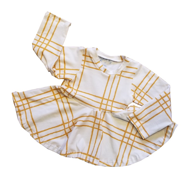 Fall Long Sleeve Peplum Top Golden Plaid Girls Tunic Circle image 0