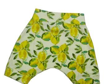 Lovely Lemon Harem Shorts, Summer Shorts in sizes 6m-3T