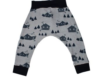 Cabin in the Woods - Navy Trim, Harem Pants, Baby and Kids Harem Leggings, Navy Log Cabin on Grey Harems, Woods, Wilderness Go Outside