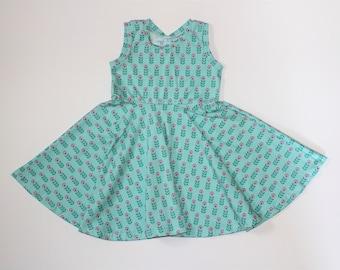 Flower Power Swing Dress, Spring Summer Full Circle Tank Dress, Girls Ballerina Twirl Dress
