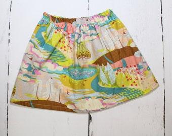 Fantasia, Girls Cotton Skirt, Enchanted Forest Print Girls Skirt, Knee Length Skirt, Toddler, Baby Skirt, Basics