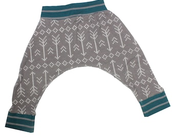 Arrows on Gray Harem Pants, Baby and Kids Harem Pant Leggings, White Arrows on Gray with Teal and Gray Stripe Accents