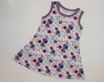 Plum Watercolor Floral Knit Tank Dress, Girls Floral Tank Top Dress, Spring Summer Dress