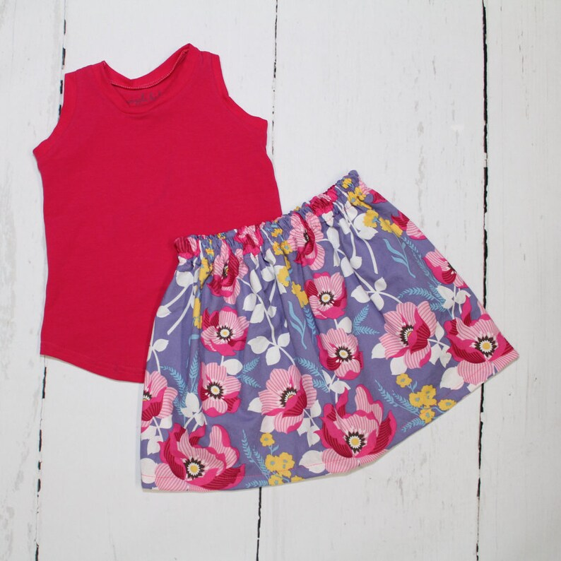 6-12M  Atrium Floral Skirt in Fuchsia Girls Cotton Skirt image 0
