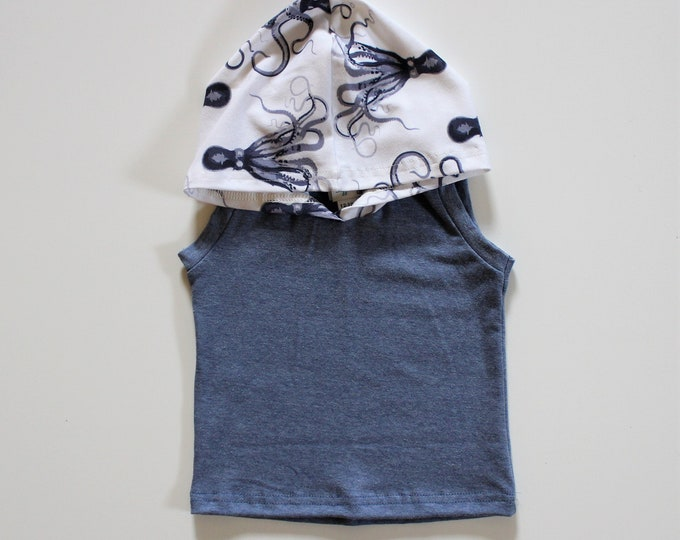 Featured listing image: Octopus Hooded Summer Tank, Boys Beach Tank, Ocean Creatures in sizes 3m-4T