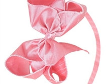 Dupioni Silk Bow Headband, 5 inch Bow on Hard Headband, Choose your color