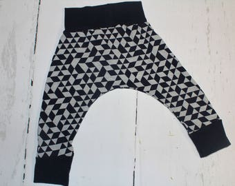 Deep Navy Geometric Baby and Kids Harem Pant Leggings, Knit Harems, Leggings, Dark Navy Blue and Heather Grey Shapes