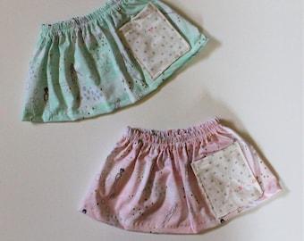 2T/3T, Pink Mermaid Pocket Girls Skirt, Enchanted Ocean Print Girls Skirt, Knee Length Cotton Skirt, Toddler, Baby Skirt
