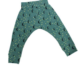 12-18m Night Sky Harem Pants, Baby and Kids Harem Pant Leggings, Moon and Stars in the Night Sky