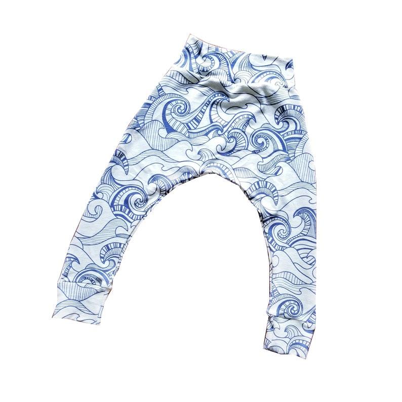Waves Jogger Harem Pants Baby and Kids Harem Leggings  Blue image 0
