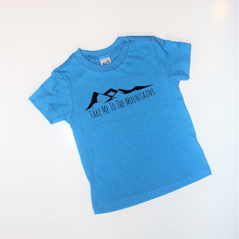 Take Me To The Mountains Kids Tee Shirt in Turquoise Mountain image 0