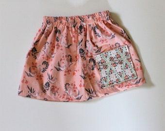 2T/3T Song Bird Pocket Girls Skirt, Enchanted Forest Print Girls Skirt, Knee Length Cotton Skirt, Toddler, Baby Skirt