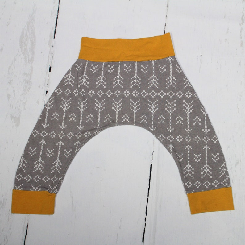 2T  Grey Stitched Arrows and Mustard Harem Pants Baby and image 0