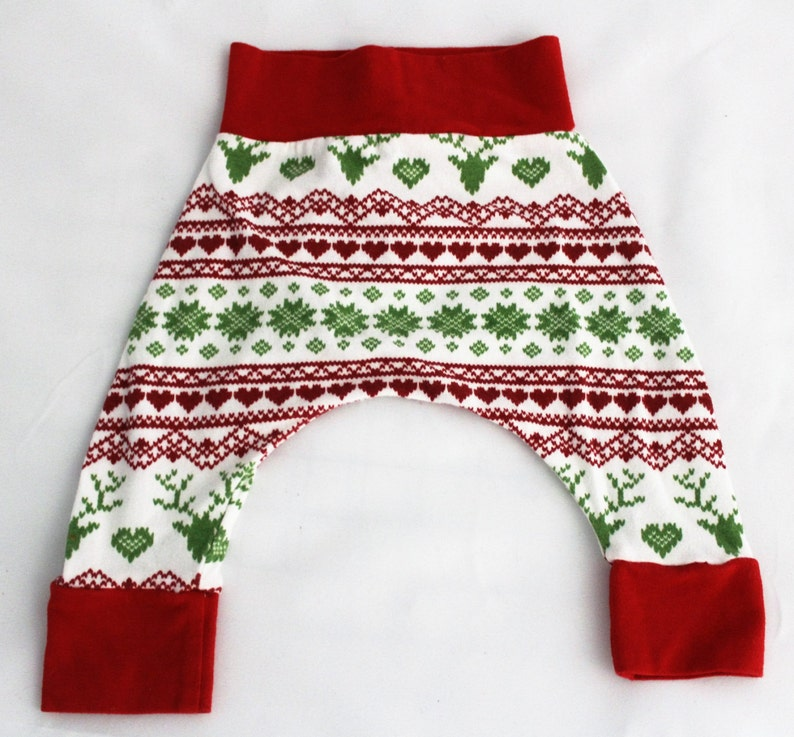 0-3M  Christmas Stitch Harem Pants Holiday Deer Harem Pants image 0