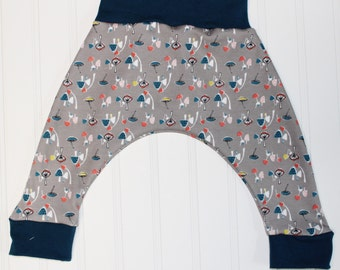0-3 month, ORGANIC Mushrooms Harem Pants, Shroomy in Grey with Blue Accents, Baby and Kids Harem Pant Leggings