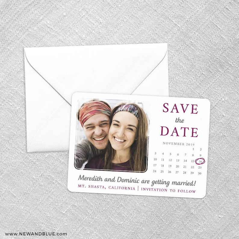 Card Wedding Save the Date Envelope Includes Back Side Printing Calendar Couple
