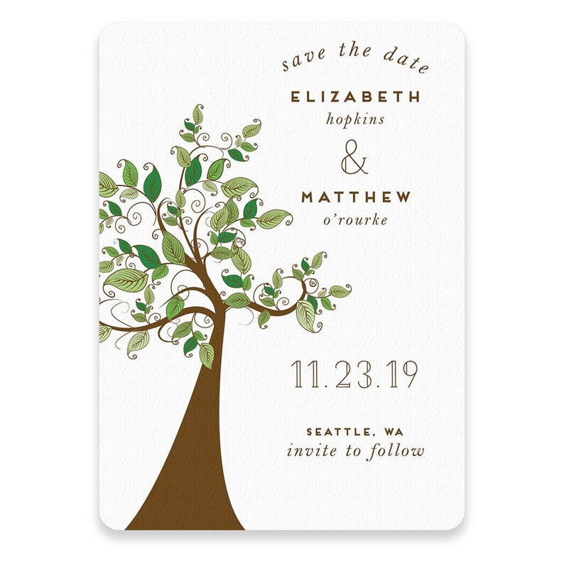 Card Save the Date Wedding Tree Envelope Includes Back Side Printing