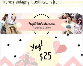 HighHatCouture / Gift Certificate / Vintage Hats / Digital Certificate / Printable