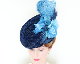 Antique Hat   1890s   Victorian hat   Gibson girl hat   Blue   Silk  chenille   Feathers 684737d5b79c