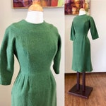 Vintage 1950s Dress / 50s knit dress / Green dress / Soft wool blend / Sleeves