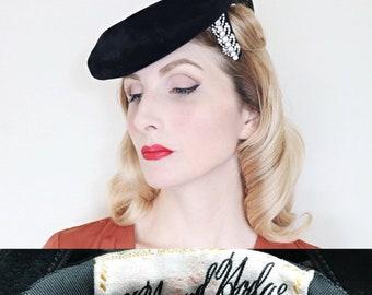 RESERVED 4 J   Vintage 1940s Hat   G. Howard Hodge Hat   50s Designer Hat    Black felt   Rhinestones 01e4009d50a3