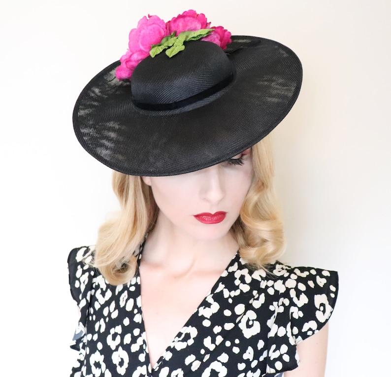 1950s Hat / Vintage Style / 50s Black straw hat / Magenta image 0