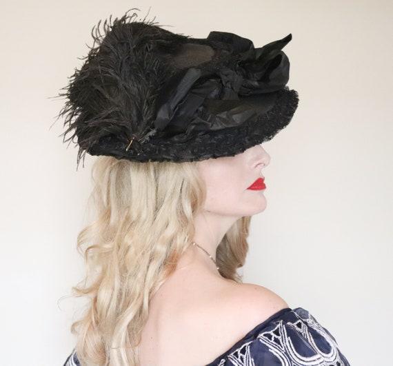 Antique Hat/ Edwardian hat / Wide brim / Black Fe… - image 4
