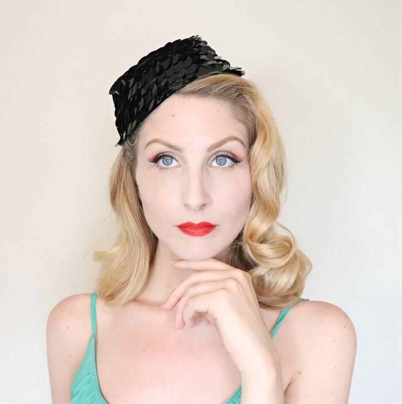 Vintage 1960s hat / 60s Hat / cocktail hat / Black sequins / image 0