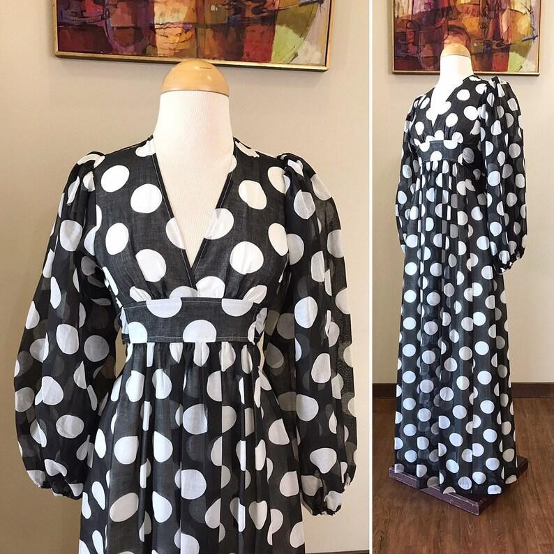Vintage 1960s Dress / Cotton maxi dress / Baloon sleeves / image 0