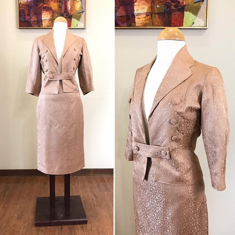 Vintage 1950s suit / 50s Womens suit / Satin brocade / image 0