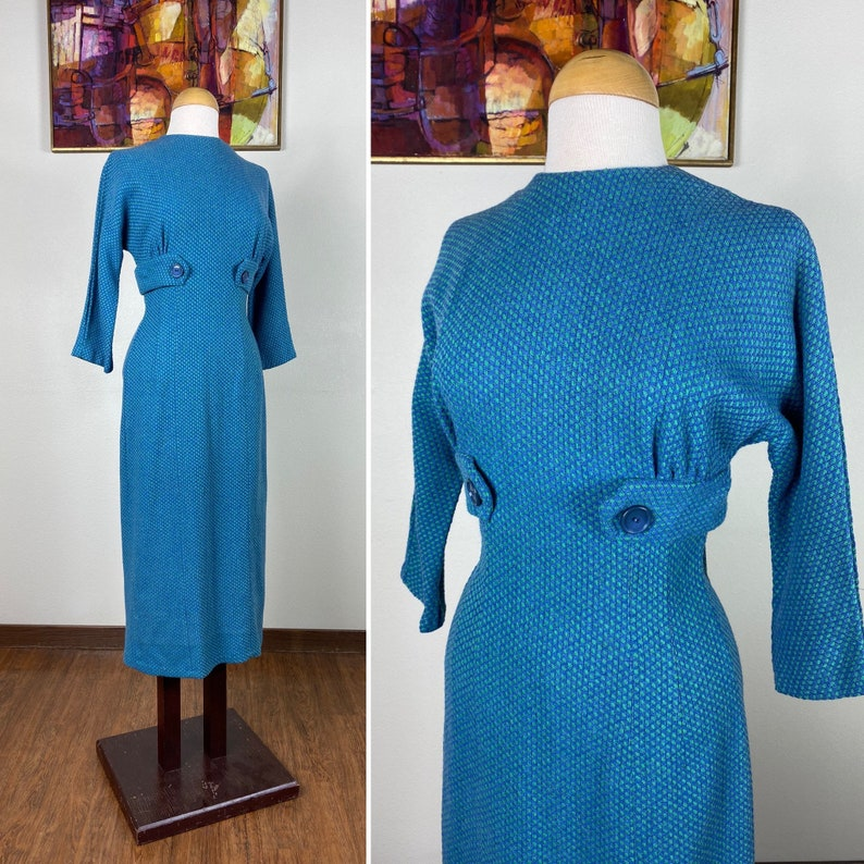 Vintage 1950s Dress / 50s wool dress / Winter knit / blue and image 0