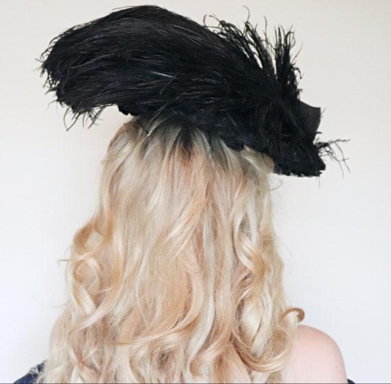 Antique Hat/ Edwardian hat / Wide brim / Black Fe… - image 3