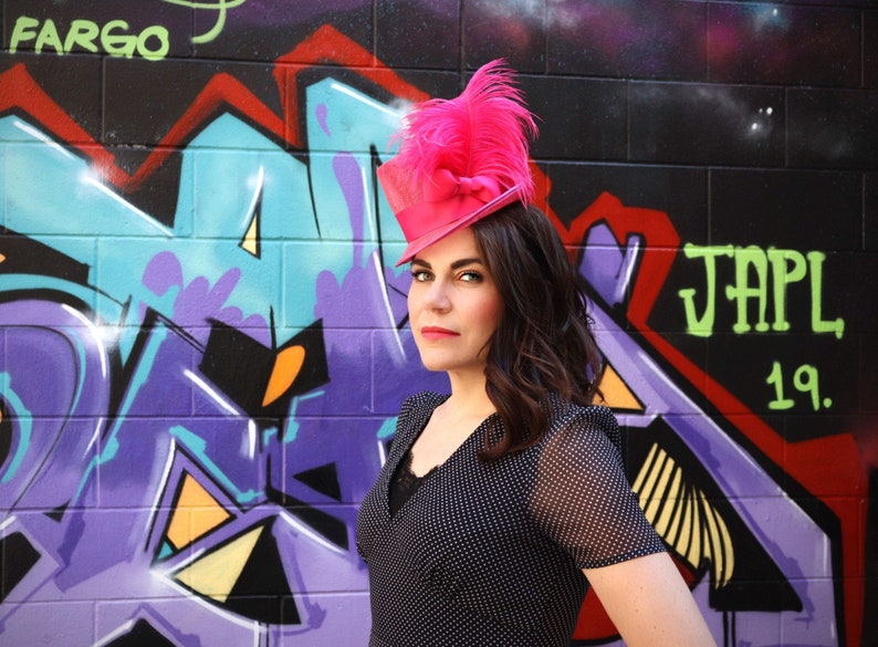 1940s Hat / Vintage style hat / 40s topper hat / Hot pink / image 0